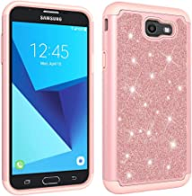 NVWA Compatible Samsung Galaxy J7 2017 Case US Version J720 /J7 V/J727/ J7 Perx / J7 Sky Pro Glitter Powder Bling Heavy Duty Tough Dual Layer Rubber Silicone Hard Soft Back Protective Cover Rose Gold