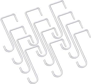 JOYSEUS 12pcs Vinyl Fence Hooks, 2 x 6 Inches Patio Hooks, White Powder Coated Steel Fence Hooks Hangers for Hanging Plants, Lights, Pool Equipment…