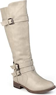 Womens Regular Sized and Wide-Calf Knee-High Buckle Riding Boot
