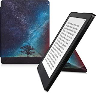 kwmobile Origami Case for Kobo Aura H2O Edition 2 - Ultra Slim Fit Premium PU Leather Cover with Stand - Blue/Grey/Black