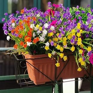 8 pcs Fleurs Artificielles Extérieures Résistant Aux UV Arbustes Plantes pour Intérieur Extérieur Suspendu Planteur Cuisin...