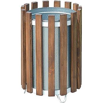 Certeo Abfallbehälter mit Holzverkleidung | rund | Volumen 45 l | Mülleimer Abfalleimer Außenbereich Abfallsammler Müllsammler Außen