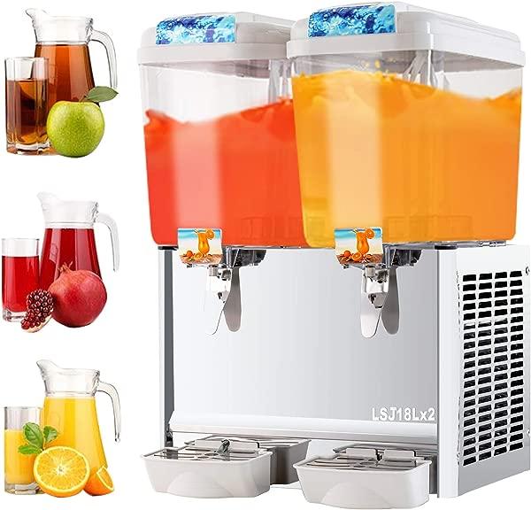 SUNCOO Commercial Juice Dispenser 9 5 Gallon Cold Beverage Drink Dispenser Machine For Restaurant And Party Temperature Control 4 75 Gallon Per Tank 2 Tank With Spigot