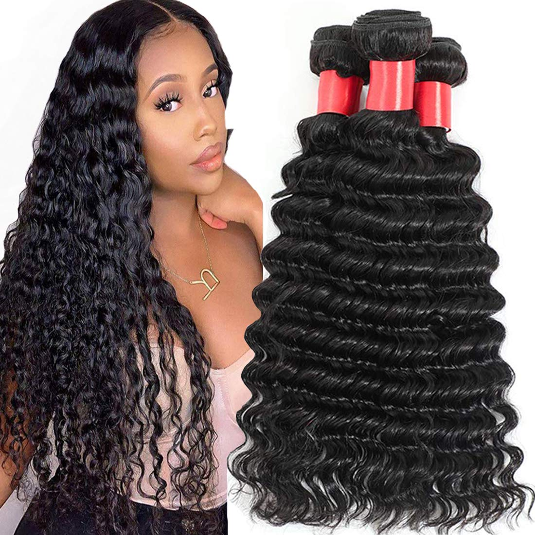 AUTTO Hair 信託 Unprocessed Brazilian Virgin Human Deep 4 B 授与 Wave