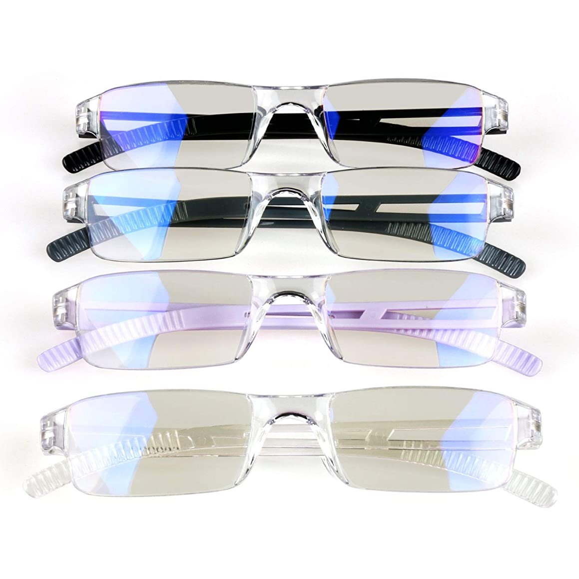 4 Pack Blue Light Blocking Glasses,Clear Vision Reading Glasses with Multi-Magnification,Daily Use for Women/Men (+1.50 Magnification, 4Color)