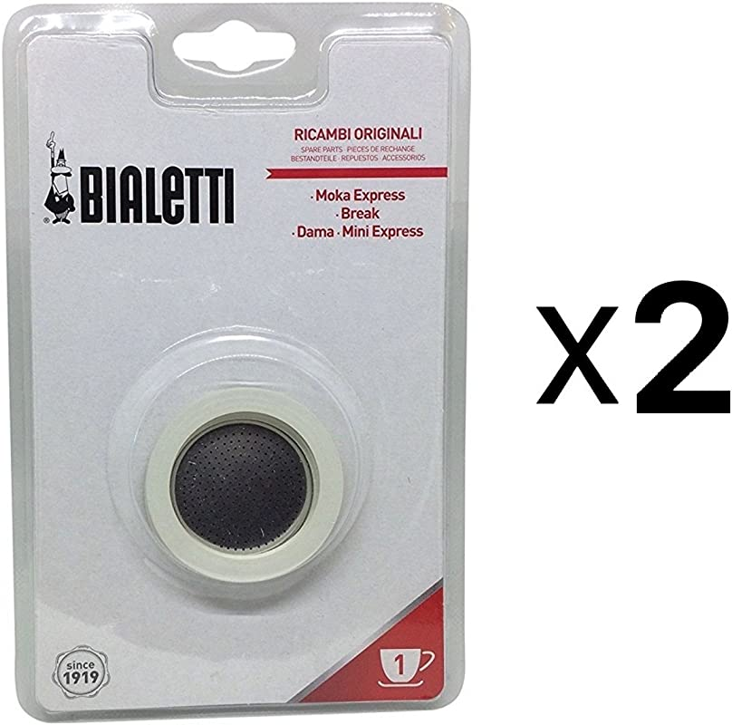 Bialetti 1 Cup Stovetop Moka Express Replacement Filter Gasket Seals 2 Pack