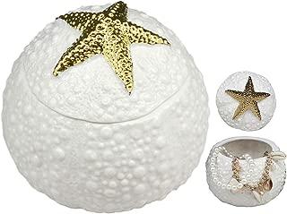 Ebros Ceramic Gold Starfish Sea Star Round Jewelry Box As Coastal Beach Ocean Nautical Decorative Storage Knick Knack Trinket Box Idea for Mother's Day Women Girls (Gold Starfish)