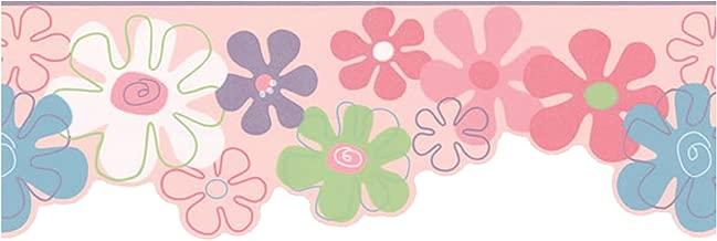 York Wallcoverings York Kids IV KL2961B Flower Power Border, Pink/Blue/White