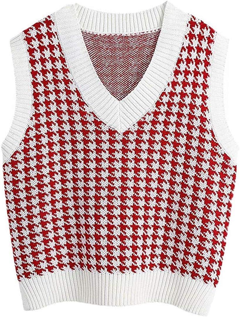 Knitted Vest Sweaters Vintage V Neck Side Female Waistcoat Chic Jumper Tops