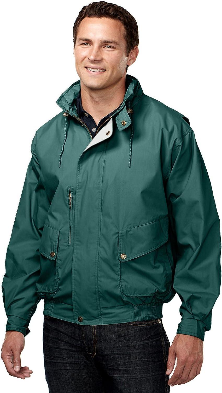 Tri-Mountain Men's Water Resistant Poplin Jacket, FOREST GREEN / KHAKI XX-Large