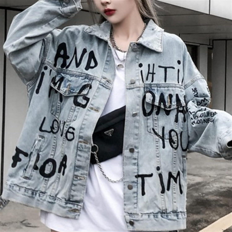 TDIDOJQ Jacket Spring and Autumn Women Clothing Letter Print Denim Jacket Mid-Length Loose Denim Top (Color : Blue, Size : Large)