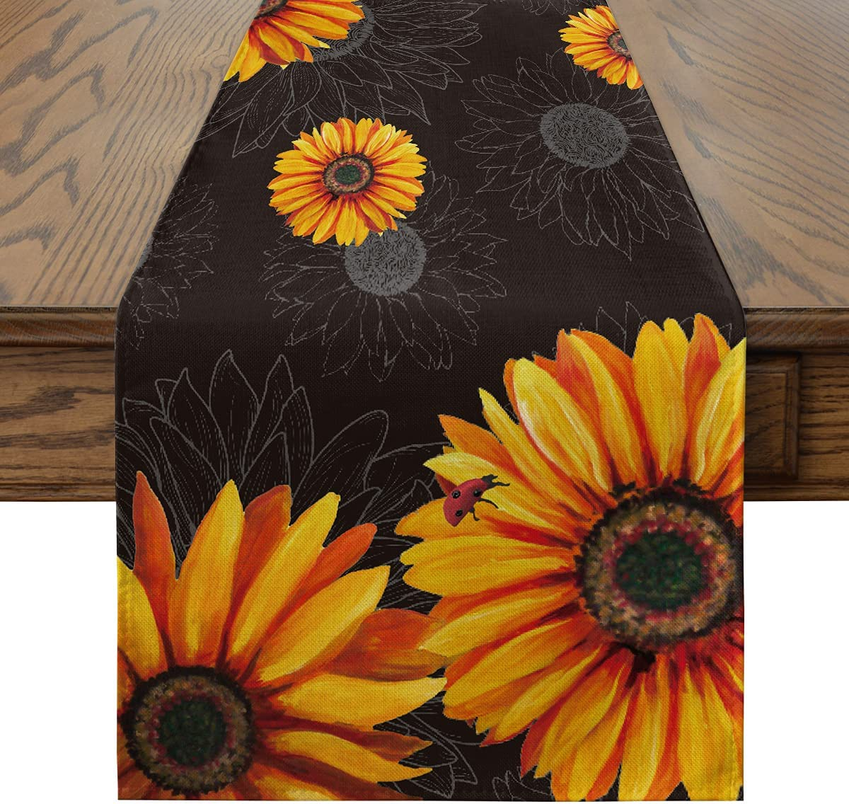 Artoid Mode Watercolor Sunflowers Ladybug Table Runner Black, Seasonal Fall Harvest Vintage Kitchen Dining Table Decoration for Indoor Outdoor Home Party Decor 13 x 72 Inch