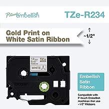 Brother P-Touch Embellish Print TZER234 Satin Ribbon, Gold on White