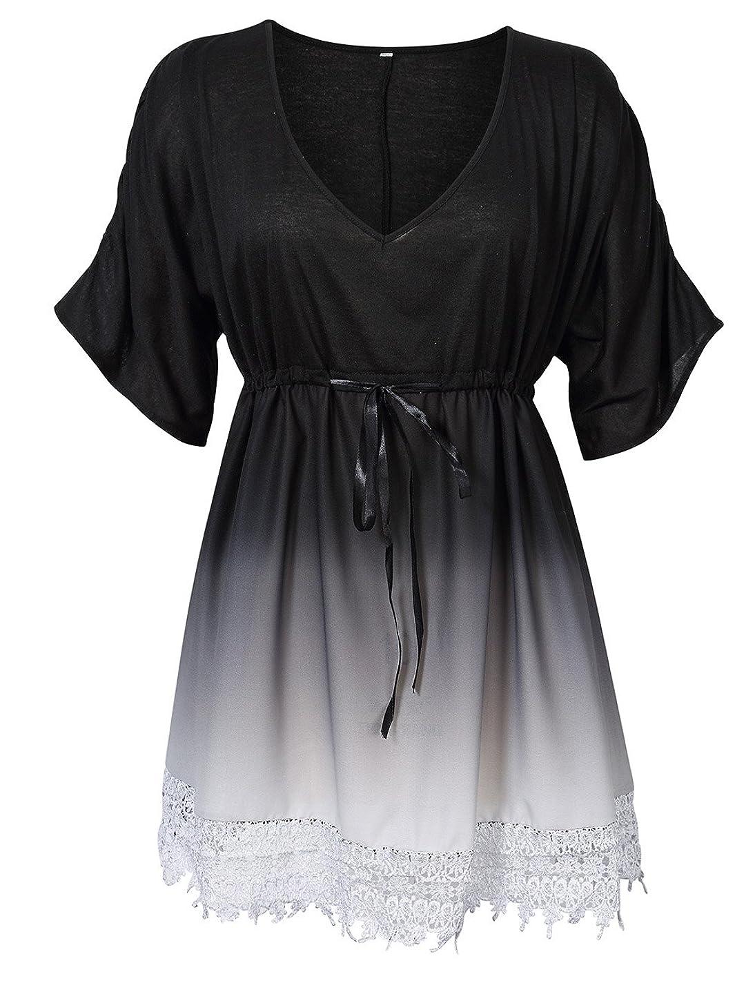 AMZ PLUS Womens Plus Size Gradient Ombre Lace V Neck Joint Sleeve Mid-Long Tunic Midi Dress