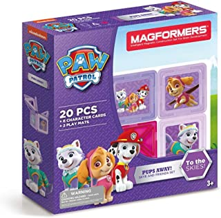 Magformers Paw Patrol 20 Pieces Pups Away! Set, Pink and Purple Colors, Educational Magnetic Geometric Shapes Tiles Building STEM Toy Set Ages 3+