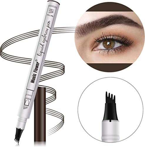 Waterproof Eyebrow Pencil Cosmetic TattooPen 4 Heads Fork Tip Patented InkSketch (#05 Black)