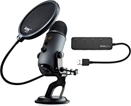 Blue Microphones Yeti Slate USB Microphone with Knox Gear USB Hub and Knox Pop Filter Bundle (3 Items)