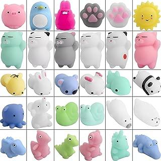 Hicdaw 30PCS Mochi Squishy Toys Mini Kawaii Animal Squishies Stress Relief Toys Seal Cat Pig Elephant Tiger Rabbit Panda Squishies