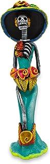 NOVICA Día de los Muertos Azul Grande cerámica Escultura, 36,2cm Tall, Catrina el Hermoso