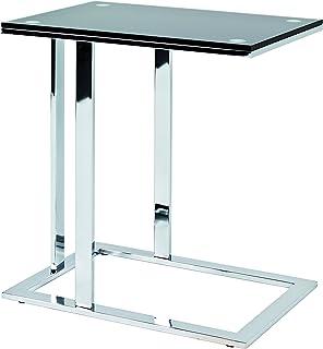 Haku Moebel table d'appoint, Acier, chromé-Noir, 37x54x58 cm