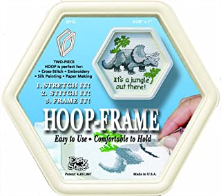 Easy Street Crafts Hexagon Hoop-Frame Cream 6-1/8 by 7-Inch for Stitching and Framing