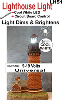 Lighthouse LED Light - Bright/Dim Circuit for Model Lighthouse - Warm White and Cool White Colors - Runs on a 9 Volt Battery (Cool White, 5mm)