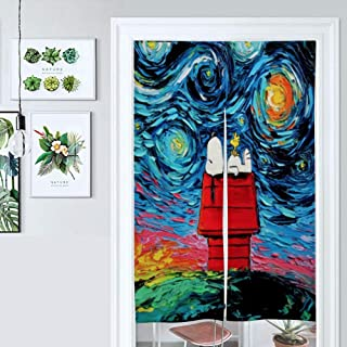 Ygosoon Doorway Curtain,Van Gogh Cute Snoopy with Starry Night,Door Way Curtain Fitting Room Curtain Partition,34