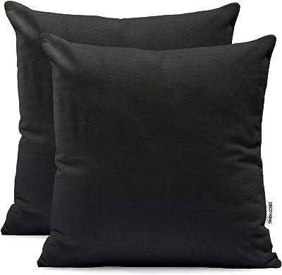 DecoKing Lot de 2 taies d'oreiller 50 x 50 cm en jersey de coton avec fermeture éclair Noir ambré