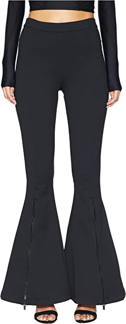 Dree High-Waisted Flare Leg Pants with Zippers