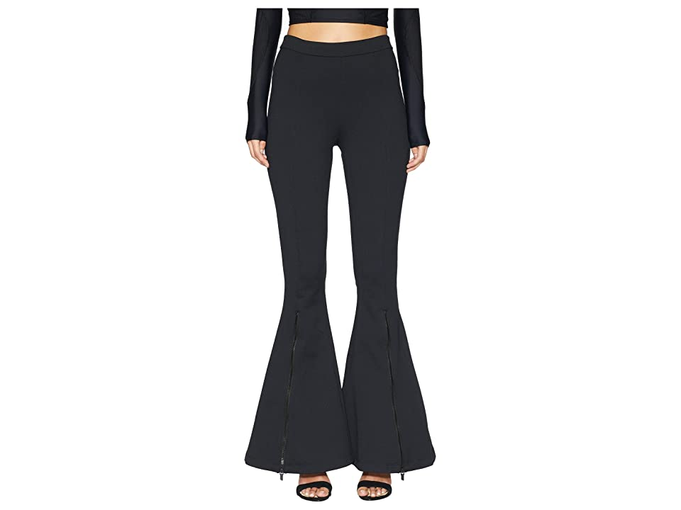 Cushnie Dree High-Waisted Flare Leg Pants with Zippers (Black) Women