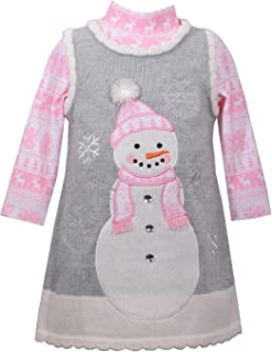 Girls Snowman Gingerbread Man Winter Holiday Jumper Dress Set