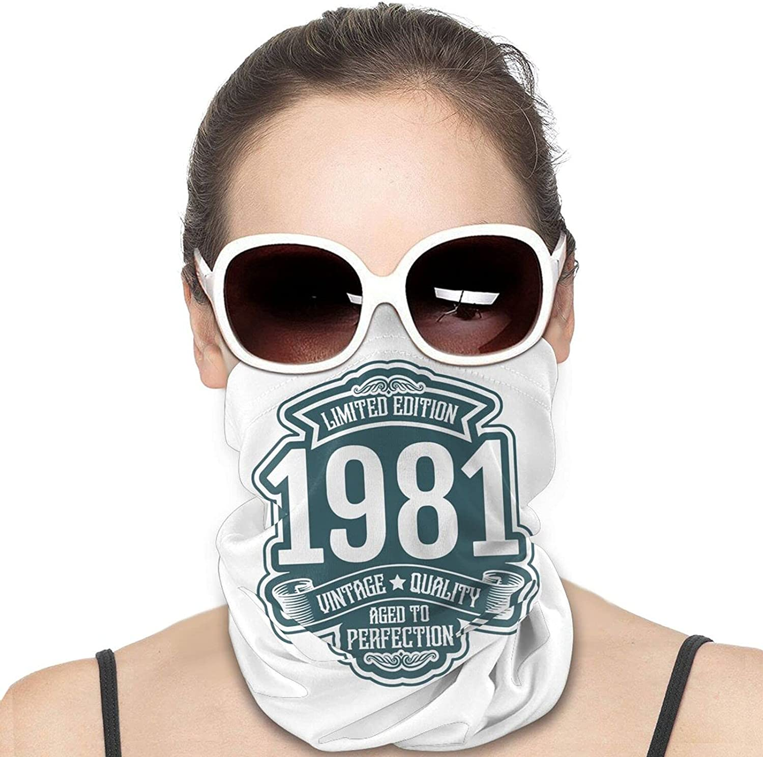 Limited 1981 Edition Round Neck Gaiter Bandnas Face Cover Uv Protection Prevent bask in Ice Scarf Headbands Perfect for Motorcycle Cycling Running Festival Raves Outdoors