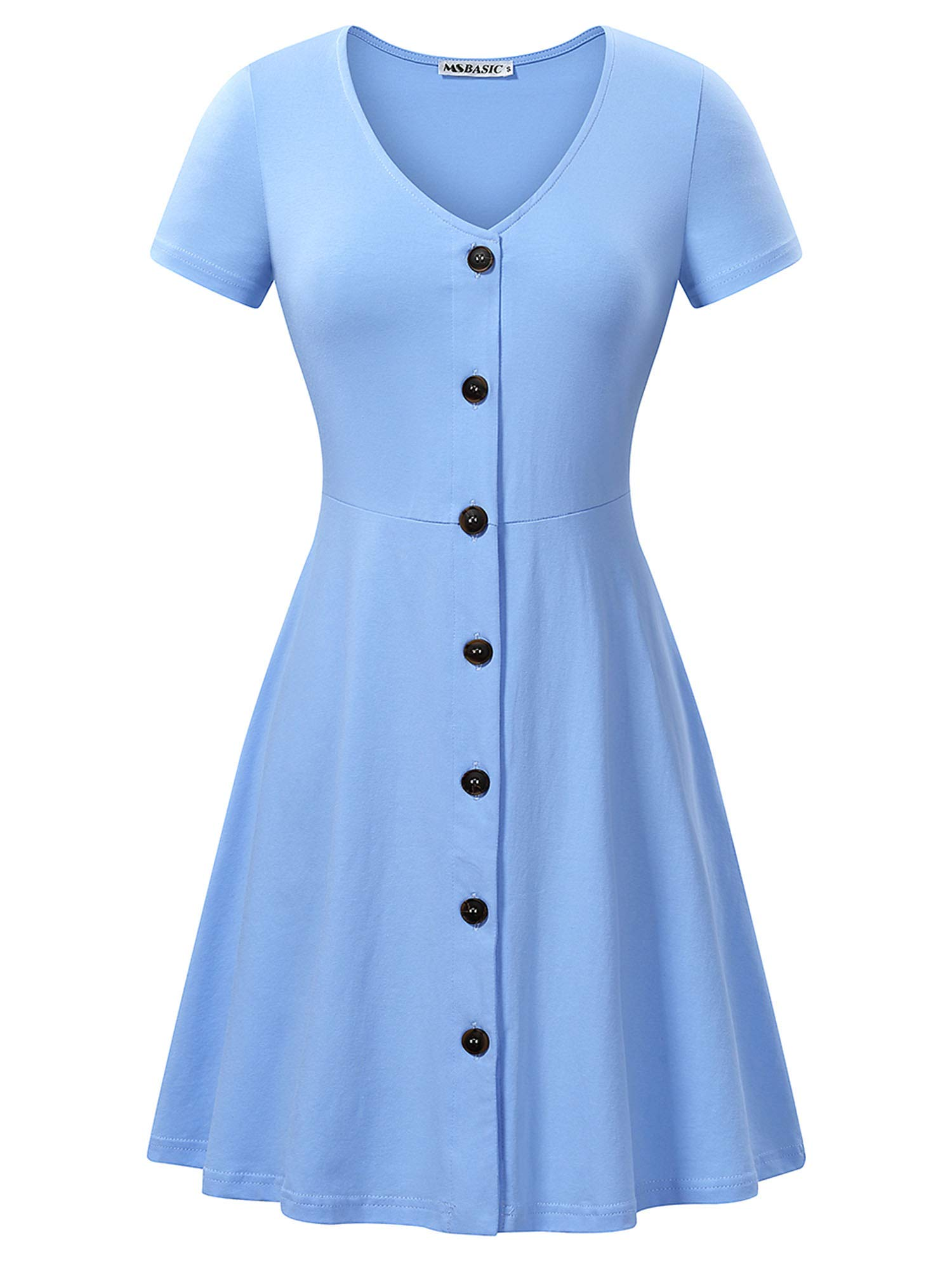 Available at Amazon: MSBASIC Women's Summer Casual Short Sleeve Button Down V Neck Dress