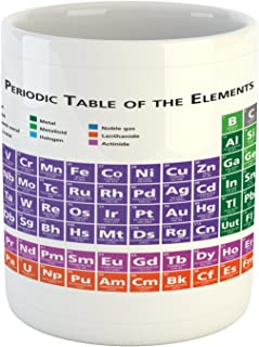 Ambesonne School Mug, Periodic Table of Elements Design Colorful Checkered Squares Science Class Theme, Ceramic Coffee Mug Cup for Water Tea Drinks, 11 oz, Purple Blue