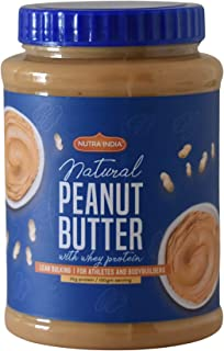 Nutra India Natural Peanut Butter with Whey Protein- 35 gram protein in 100 gram serving Gluten Free