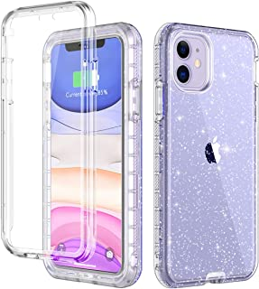 LONTECT for iPhone 11 Case Built-in Screen Protector Glitter Clear Sparkly Bling Rugged Shockproof Hybrid Full Body Protective Case Cover for Apple iPhone 11 6.1 2019, Purple Clear/Silver Glitter