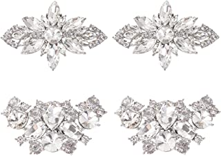 kilofly Elegant Rhinestone Crystal Metal Shoe Clips Wedding Party Set of 2 Pairs