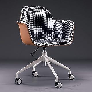 Silla de Oficina ergonómica Silla de oficina en casa, cuero de PU + silla de escritorio de lino de algodón, con base de metal, moderna silla giratoria ajustable de 360 ° con brazo Silla tapizada p