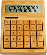 $29 » Kstyhome Multifunctional Bamboo Electronic Calculator Counter 12 Digits Solar & Battery Dual Powered for Home Office Schoo...