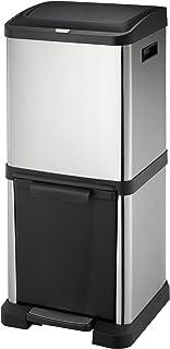 Mari Life Cubo Basura Reciclaje | Contenedor Reciclaje en Acero Inoxidable | 2 Unidades Basura Extraible | Comida, Papel, Vidrio y Plastica | 34 litros (16L + 18L)