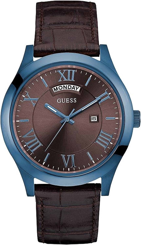 Guess Metropolitan Reloj para Hombre Analógico de Cuarzo con Brazalete de Piel de Vaca W0792G6