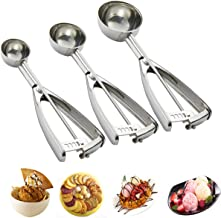Cookie Scoop Set - Cookie Scoops for Baking - 3 PCS Cookie Dough Scooper - Ice Cream Scoop with Trigger - Made of 18/8 Sta...