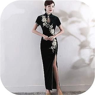 Black Velour Qipao Dresses Classic Sexy Split Long Cheongsam Dress Autumn Velvet Embroidery China Traditional Design
