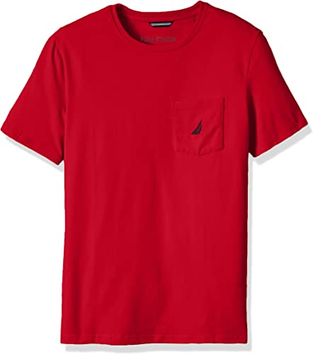 Nautica Hommes's Big and Tall Solid Pocket T-Shirt, rouge, 2XLT