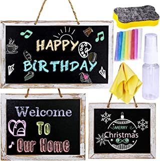 3 Pack 3 Size Chalkboard Signs Framed Chalkboard Easel Chalkboard Menu Chalkboard First Day of School Chalkboard Hanging Chalkboard Sign Rustic Decorative Wedding Wood Chalkboards Signs