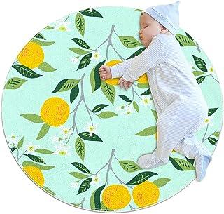apelsiner i blom, barn rund matta polyester kasta område matta mjuk pedagogisk tvättbar matta barnkammare tipi tält lekmatta