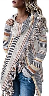 Style Dome Ponchos de Punto para Mujer Chal Elegantes para Invierno Cardigan de Capa con Bloques de Colores para Mujer Eas...