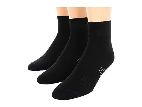 Wrightsock Ultra Thin Qtr 3-Pair Pack Black Running Socks 8134643