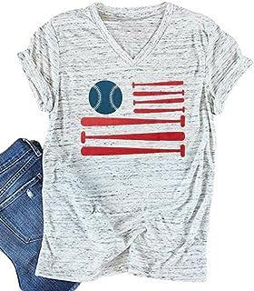 American Flag Baseball Shirt Women 4th of July Patriotic T Shirt Sports Tee Casual Short Sleeve Tops
