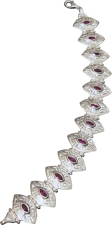Sterling Silver Bracelet - Greek discount Key Magenta Oval w Light Portland Mall Stone